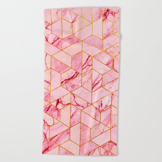 Pink Marble Hexagonal Pattern Beach Towel