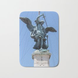 St Michael statue on top of Castel Sant'Angelo in Rome Bath Mat