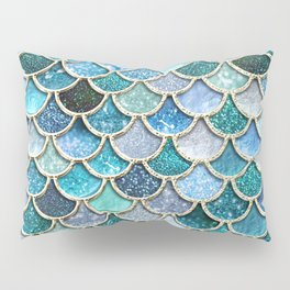 Multicolor Aqua Mermaid Scales - Beautiful Abstract Glitter Pattern Pillow Sham