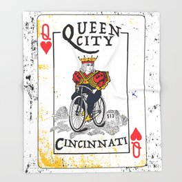 Queen of Cincinnati Bike Print Throw Blanket