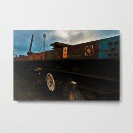 Abandoned Train in Train Yard Metal Print