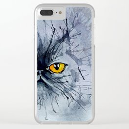 Watecolour cat Clear iPhone Case