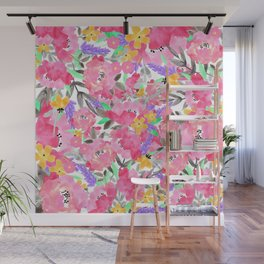 Hand painted pink lavender watercolor floral Wall Mural