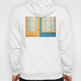 Beach Hut window- orange Hoody