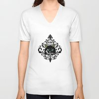 damask V-neck T-shirts featuring cat damask by Andi Bird