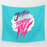 obama Wall Tapestries featuring Justice Like A Thunderbolt by Chris Piascik