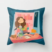 hermione Throw Pillows featuring Hermione by breakfastjones