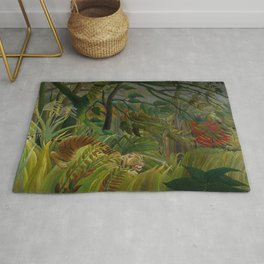 Henri Rousseau - Tiger in a Tropical Storm - Surprised! Rug
