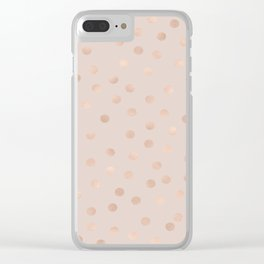 Rose gold polka dots - tropical bronze Clear iPhone Case