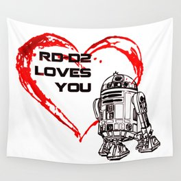 R2 -D2 Loves You Wall Tapestry