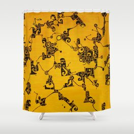Yellow Abstract Pattern Painting Shower Curtain