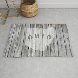 Ohio Map Barn Wall Wood Rustic Home Rug
