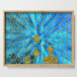 Blue Aqua Turquoise And Gold Glitter Mermaid Scales -Beautiful Mermaidscales Pattern Serving Tray