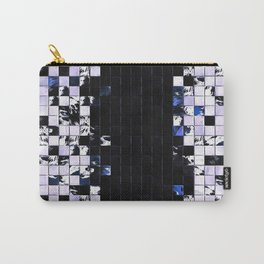 Blue Accent Black And White Square Tiled Ceramic Mosaic Pattern Carry-All Pouch