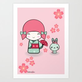 Kokeshi doll - Keiko e Usagi Art Print