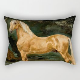 "Théodore Géricault ""Palomino Arabian Stallion frightened by two felines"" Rectangular Pillow"