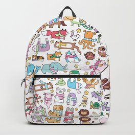 Winter Animals with Scarves Doodle Backpack
