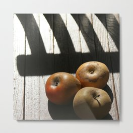 Three apples on a chair Metal Print