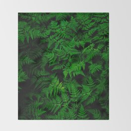 Deep Forest Ferns Throw Blanket