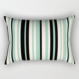 Vertical Stripes Pattern in Black, Mint Green, and Cream Rectangular Pillow