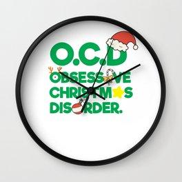 Funny OCD Obsessive Christmas Disorder Xmas Santa Claus Holiday Season Wall Clock