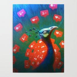 Social Media Peacock Poster
