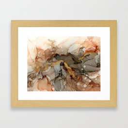 Abstract Ink - Earth Tones Gold Framed Art Print