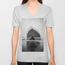 Ghost Girl at Haystack Rock- Cannon Beach in Black and White Unisex V-Neck