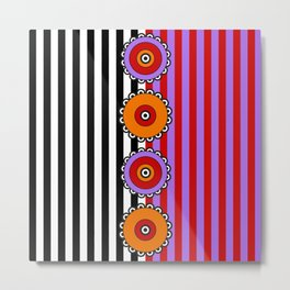 Flowers and Stripes - Red Purple Orange Metal Print