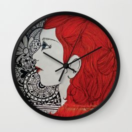 Red Waves Wall Clock
