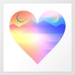 Sunset Heart Art Print