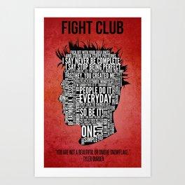 Typography Tyler Durden Uncensored Art Print