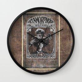 Metamorphosis by The Wolf Man: A Full Service Hair Salon (Aged Postcard) Wall Clock