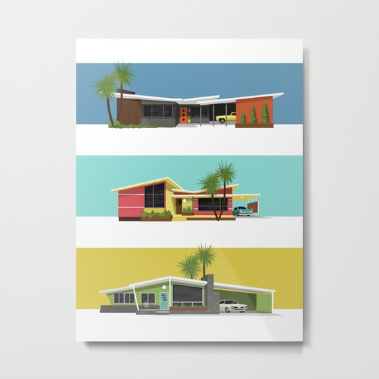 Mid Century Modern Houses 2 Metal Print