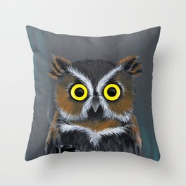 Caffeine Owl Throw Pillow