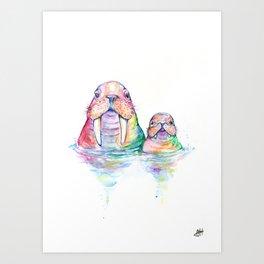 Warbling Walruses Art Print