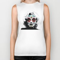marylin monroe Biker Tanks featuring Marylin de los Muertos 4 by jazzyjules63