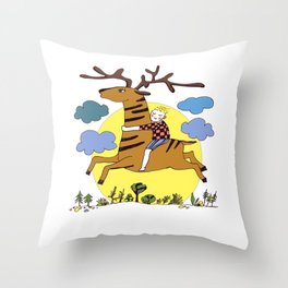 Boy with his Deer Throw Pillow