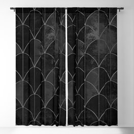 Mermaid scales in black and white. Blackout Curtain