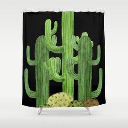 Desert Vacay Three Cacti on Black Shower Curtain