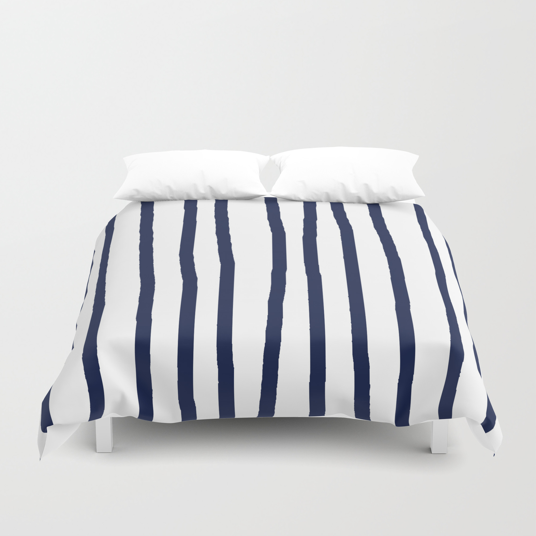 Simply Drawn Vertical Stripes Nautical Navy Blue On White Duvet