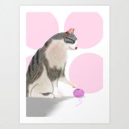 Kitty loves its yarn. Art Print