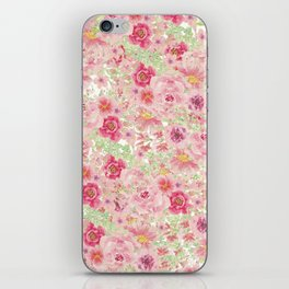 Pastel pink red watercolor hand painted floral iPhone Skin