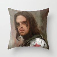 the winter soldier Throw Pillows featuring WS 1 by Wisesnail