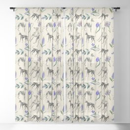 GREYHOUND DOGS & PRESSED FLOWERS Sheer Curtain