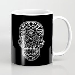 Intricate White and Black Day of the Dead Sugar Skull Coffee Mug