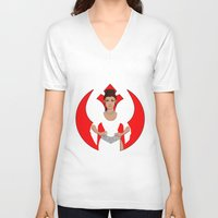 leia V-neck T-shirts featuring Leia by DearlyMe