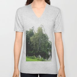 Large white birch on the shore of a reservoir with a dangling leaf crone Unisex V-Neck