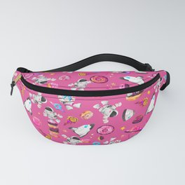 Planet Donuts Watercolor Astronaut Pattern Pink Fanny Pack