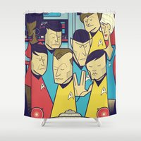 ale giorgini Shower Curtains featuring Star Trek by Ale Giorgini